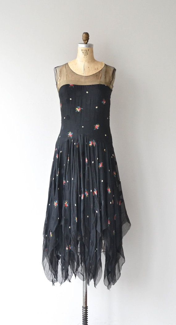 Fickle Fates dress 1920s silk dress floral vintage 20s