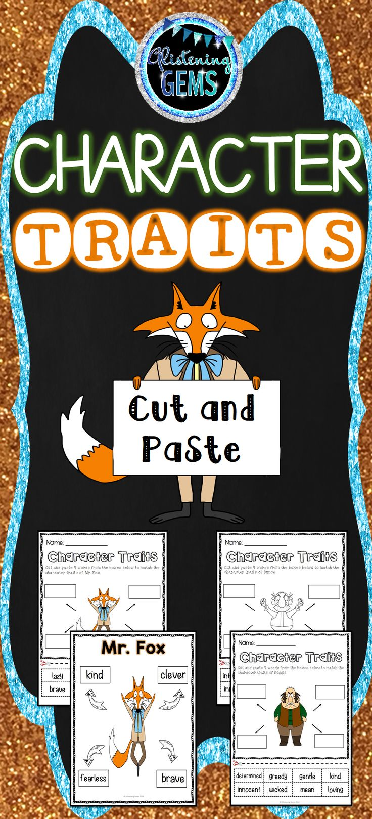 Fantastic Mr. Fox - Character Trait Activities - Cut and Paste