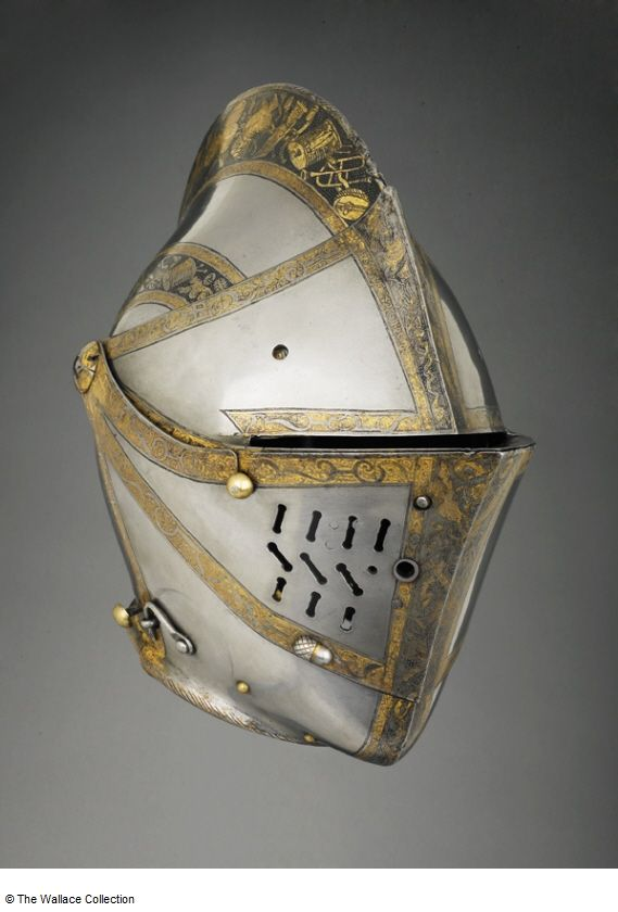 Close-helmet Attributed to Anton Peffenhauser (c. 1525 - 1603) , Armourer Germany, Augsburg c. 1575 Iron or steel, gold and copper alloy, etched and gilt Weight: 3.35 kg