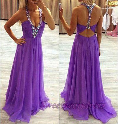 """qpromdress: """" Prom dress 2016, purple chiffon v-neck prom dress """""""
