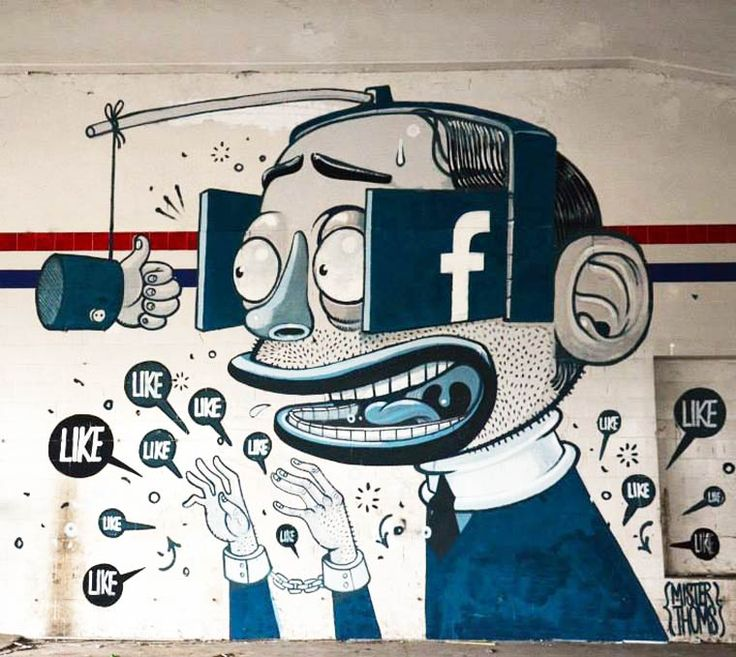 Best Street Art Images On Pinterest Street Art The Artist - Cartoon mural man obsessing facebook likes says lot society