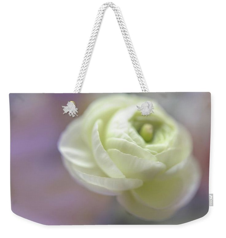 "White Ranunculus Bud Weekender Tote Bag (24"" x 16"") by Jenny Rainbow.  The tote bag is machine washable and includes cotton rope handle for easy carrying on your shoulder.  All totes are available for worldwide shipping and include a money-back guarantee."