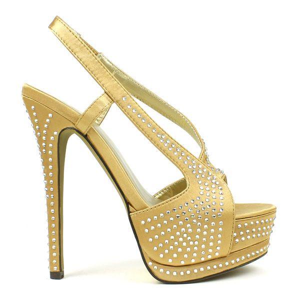 Brand New Fahrenheit Women's Studded Satin Dress Pumps Womens size 8 US Gold #Fahrenheit #Slingbacks