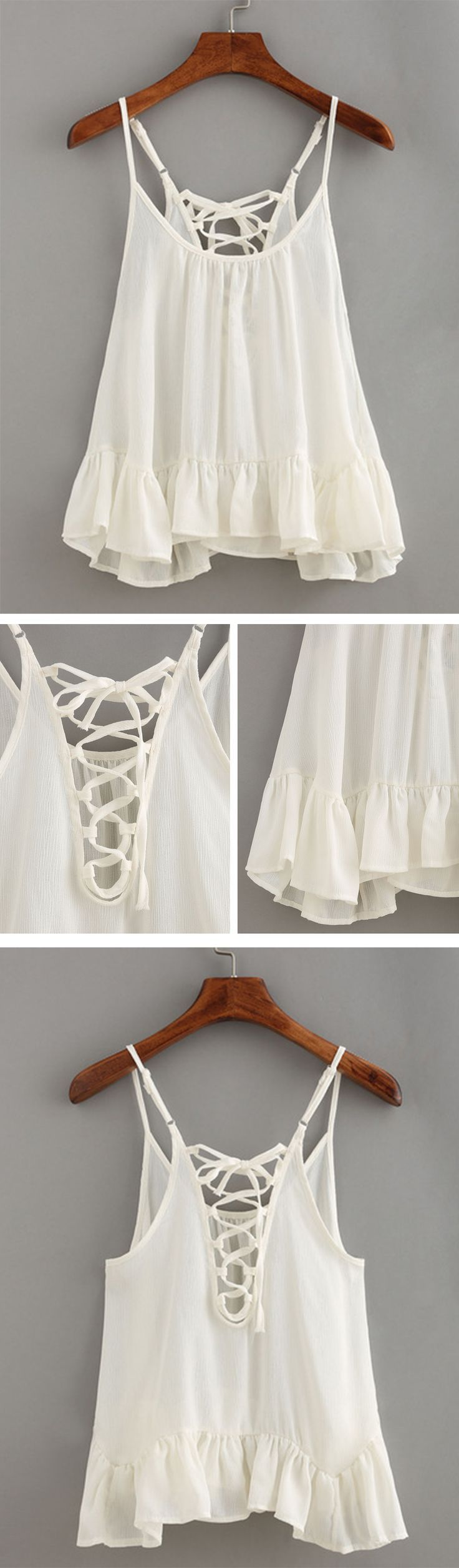 A dreaming Lace-Up Ruffled Hem Cami Top that's great for the girl on a budget. Summer never looked so cute! All what you have been searching will end here.