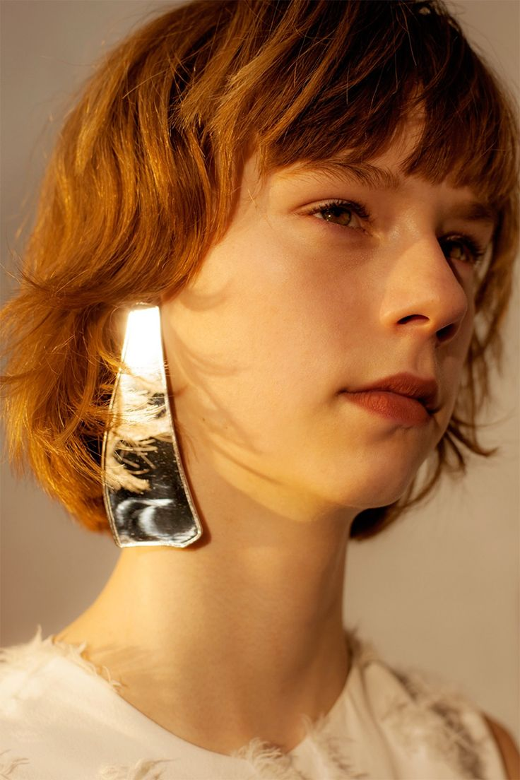 LOEWE's silver mirror earring featured in Spring Summer 2016 Off Black Magazine