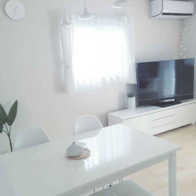 satoeri626さんの、部屋全体,IKEA,グリーン,真っ白,ダイニングテーブル&チェア,ミニマリスト,IG→satoeri626,ホワイトルーム,のお部屋写真