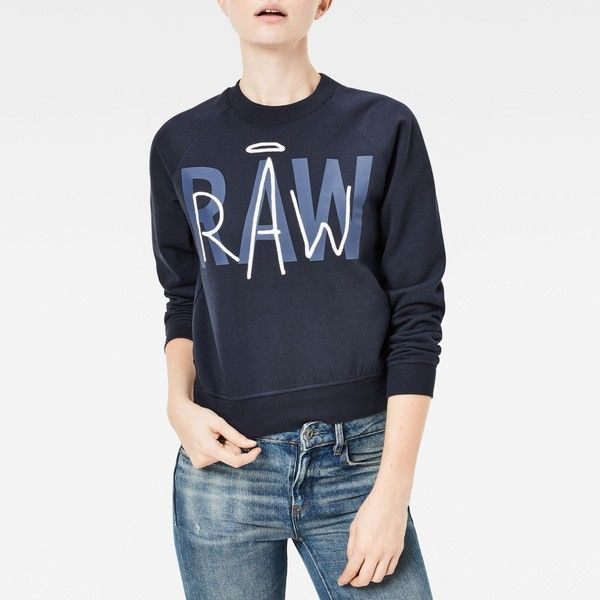 G-Star RAW Chias Straight Sweater (205 BAM) ❤ liked on Polyvore featuring tops, sweaters, cotton sweaters, blue top, g-star raw, blue cotton sweater and g star raw sweater