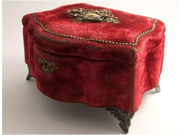Antique red velvet jewelry box