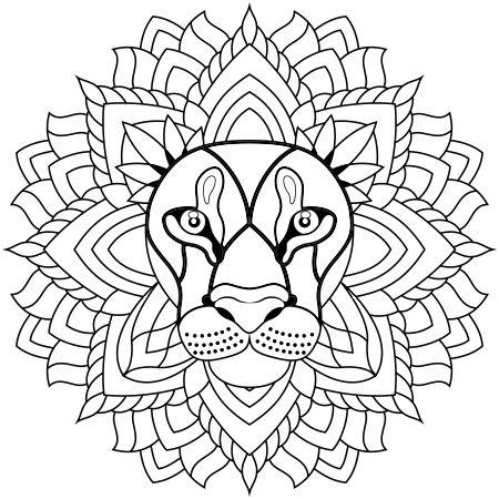 Dessin Mandala lion a colorier