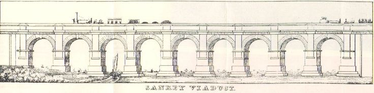 The line of George Stephenson's Liverpool to Manchester Railway crossed the Sankey Valley near Newton-le-Willows. The Viaduct he constructed there was the first major structure of the Railway Era, the first true passenger railway over the first canal of the Industrial Revolution. The arches were built high enough to allow full-masted flats to pass beneath. The Viaduct cost £45,200 to construct, and is set on some 200 piles 20 - 30 feet deep.