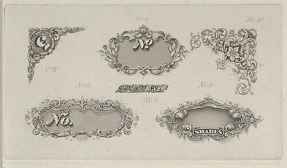Banknote motifs: six small lathe work designs for corners, frames and numbers