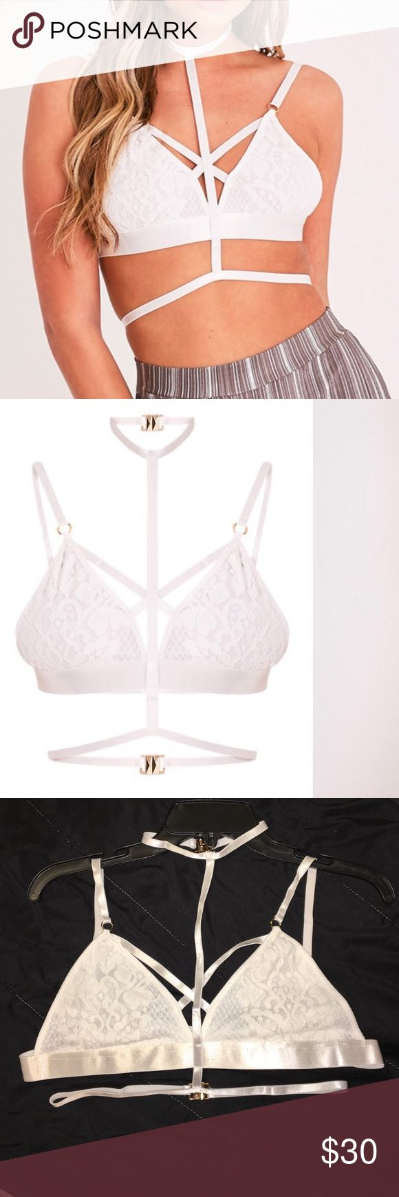 White harness lace bralet White harness lace bralet. US size 10/ UK size 14 (large) fabric 100% polyester. Tried on but never worn out. pretty little thing Intimates & Sleepwear Bras