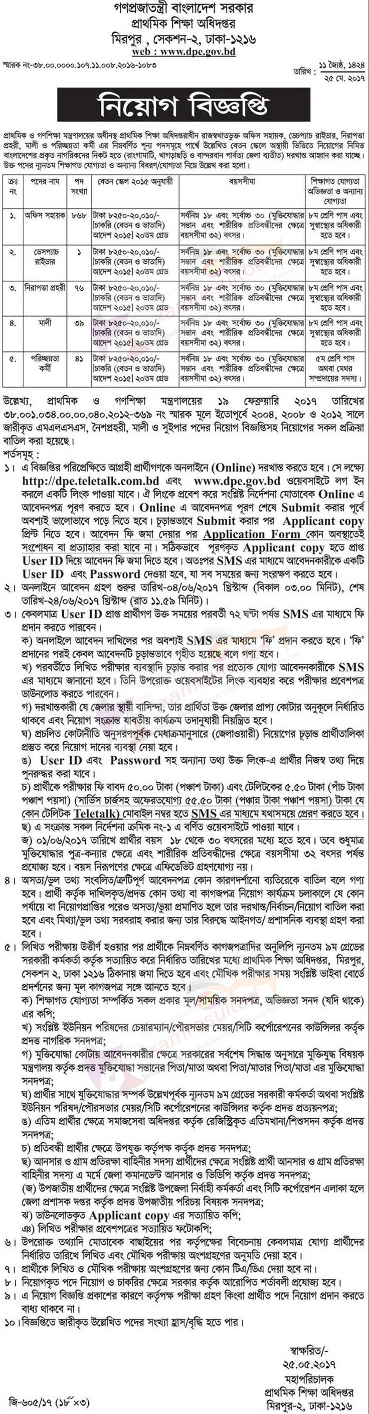 Directorate of Primary Education Job Circular 2017 Publish at www dpe gov bd. You Will Find All Information about DPE Job Circular 2017 at here