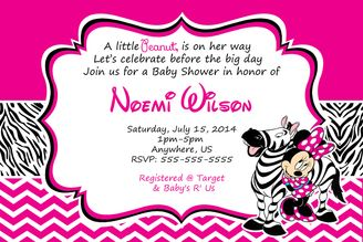 Hot Pink Minnie Mouse Zebra Baby Shower Invitations