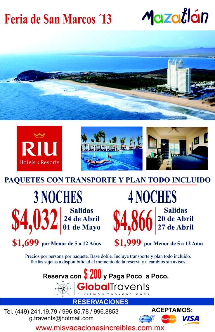 HOTEL RIU EMERAL BAY MAZATLAN 5*     Desde $4,032.00 por persona, Chárter de 4 días y 3 noches en plan todo incluido   Para viajar en Feria de San Marcos 2013     Ofertas Increíbles para viajeros exclusivos…!!!   Tel. (449) 241-19-79 | 996-85-78 | 996-88-53   www.misvacacionesincreibles.com.mx