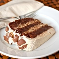 A decadent 3 layer brownie cake with velvety espresso-mascarpone filling studded with Heath Bar candy.
