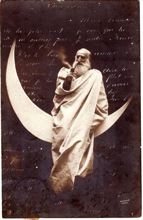 Designersgotoheaven.com by @Andrei Robu God smoking on the moon. Vintage postcard from Belgium. To Mademoiselle Maria Dupuis. ViaSteven Str...