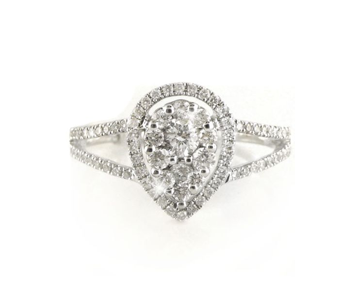 An 18ct White Gold and Diamond Cluster Pear Shaped Halo Ring