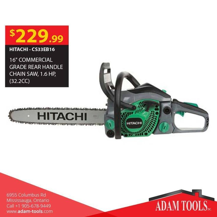 """Checkout this excellent power to weight, chain saw Hitachi - #CS33EB16 16"""" commercial grade rear handle chain saw, 1.6 HP, (32.2cc) http://www.adam-tools.com/cs33eb16-16-commercial-grade-rear-handle-chain-saw-1-6-hp-32-2cc.html #canada #mississuaga #power_tools #building_supplies #adamtools #shop_online #buy_online #hitachi #chainsaw"""