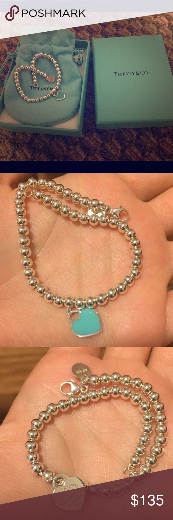 Tiffany Bead Heart Charm Bracelet