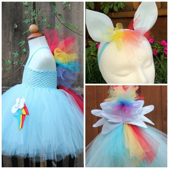My little pony Rainbow Dash Costume -Rainbow Dash 3 item Halloween Costume -  Rainbow Dash dress - Wings and ears headband
