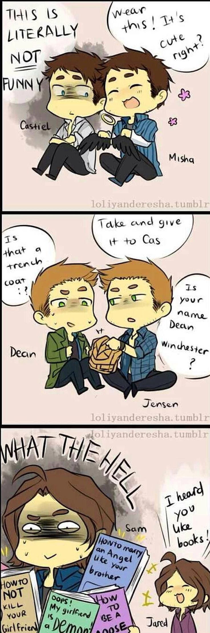 Love how Jared's face looks when he gives the books to Sam.