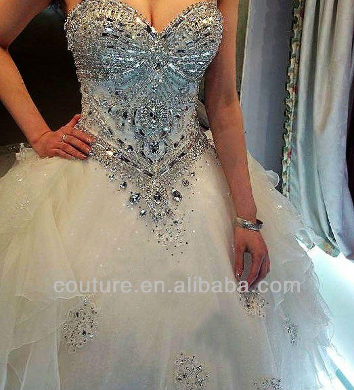 bling wedding dresses   ... bling bling strapless sweetheart neck Cathedral train wedding dress