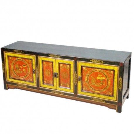 Meuble TV tibétain avec 4 portes. Origine : TIBET. Frais ecotax inclus. Commande sur mesure, merci de nous contacter. Rêve d'Asie. Suisse.