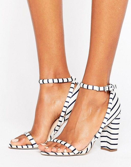 Blue and white striped heels