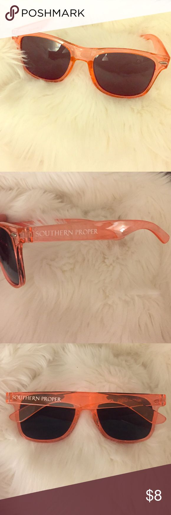 Southern Proper Clear Orange Sunglasses 🍊 Southern Proper clear orange plastic rayban style sunglasses 🍊✨Tag a Syracuse or Clemson fan 😊 Southern Proper Accessories Sunglasses