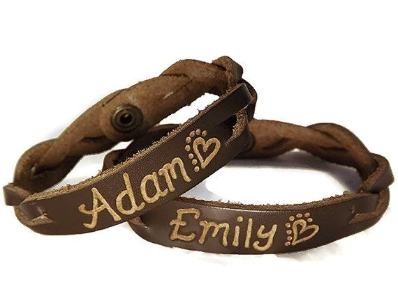 62a8fba71 Engraved Couples Braided Bracelets - His and Hers Jewelry - Custom engraved  leather name bracelets