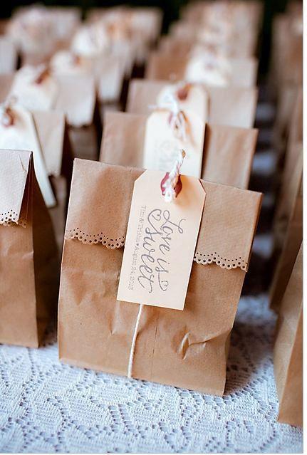 Kraft bag wedding favors.