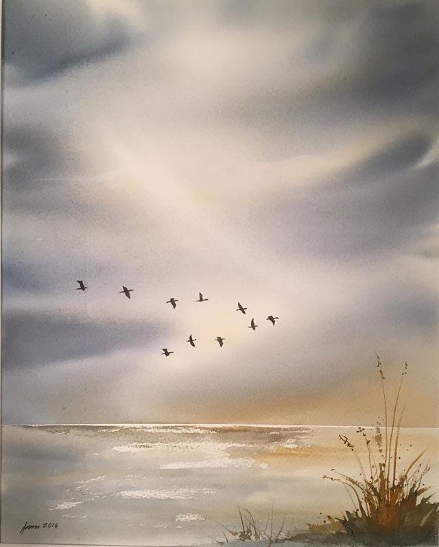 Fåglar - Birds #watercolor #watercolour #akvarell #fåglar #flyttfåglar #birds #art #konst #himmel #sky