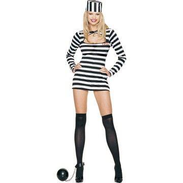 Adult Sexy Convict Costume sequin dress