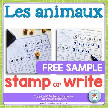 French Animals - Les animaux Stamp or Writing Practice