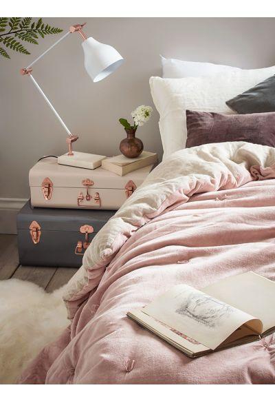 NEW Velvet & Linen Kingsize Quilt - Blush