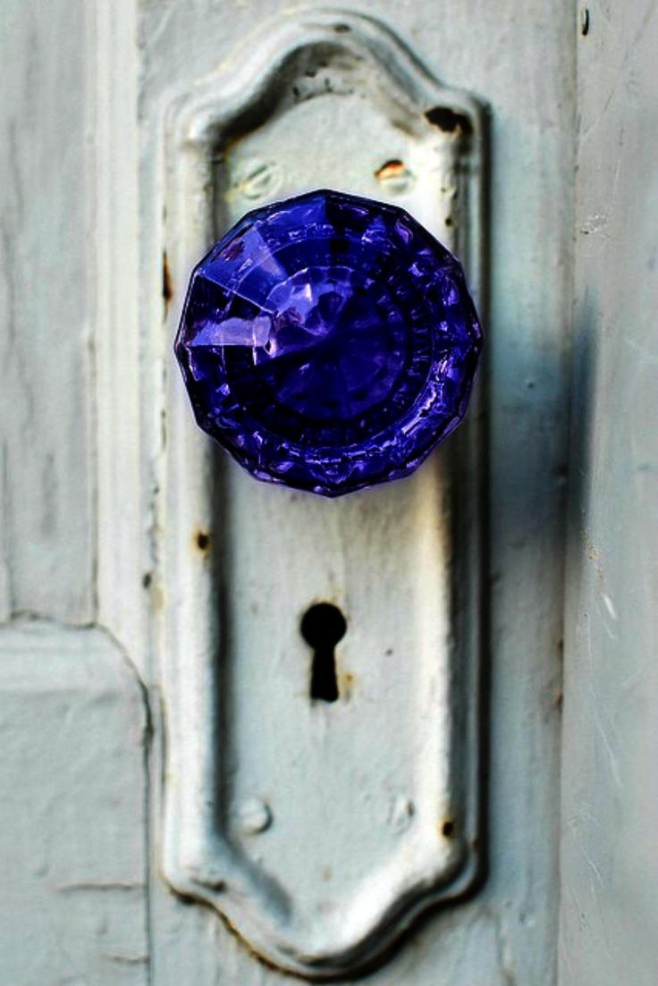 Beautiful Blue Door Knob On Old White Door Doors Doors