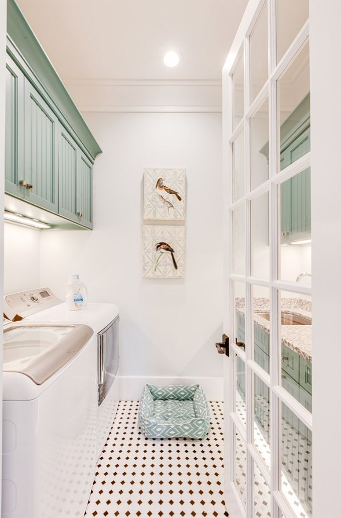 White laundry room with light teal cabinets, light turquoise, blue-green, Sherwin Williams Reflecting Pool
