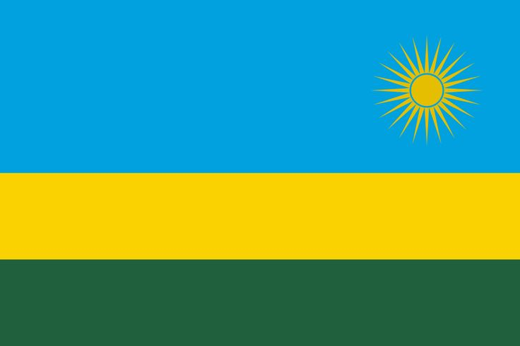 The flag of Rwanda: blue, yellow and green stripes with a yellow sun in top right cornerFlagsMore Pins Like This At FOSTERGINGER @ Pinterest