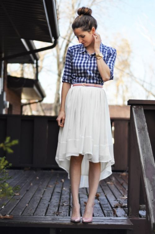 gingham shirt with a flowy skirt