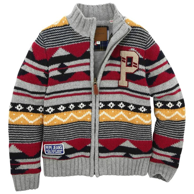Soft and warm knit cardigan with mottled grey, red and mustard yellow patterns. High neck and long sleeves. Full zip on the front. Machine wash at 30°C. - 76,50 €