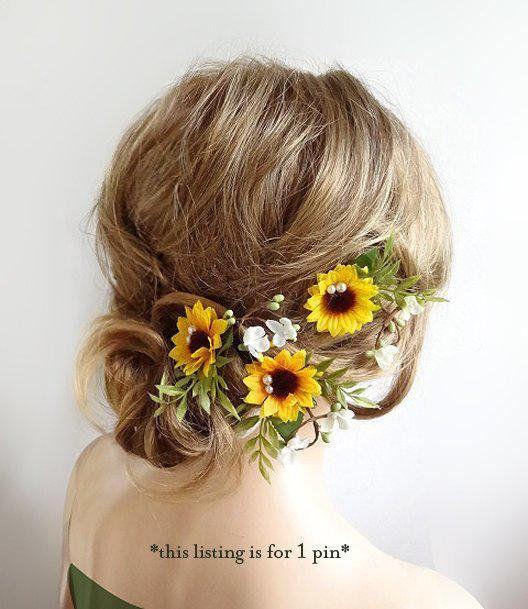 sunflower hair pin, sunflower hair equipment, bridesmaid hair pin, sunflower hair piece for ladies,
