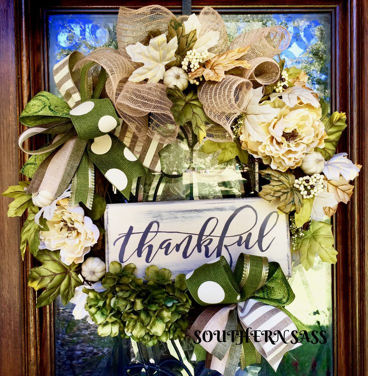 thankful fall thanksgiving wreath with creams greens www facebook com groups