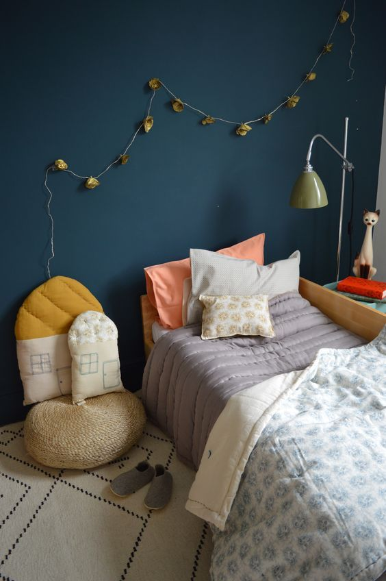 All by Camomile London - love the little house cushions <3 | Bedroom  | London, Kids Rooms and Dark Blue Walls