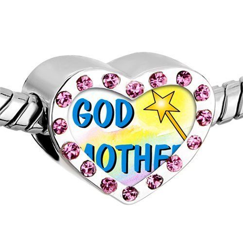 Pugster Pink Swarovski Crystal Gold Plated Christian Theme God Mother Photo Heart European Bead Bracelets Heart Silver Plated Beads Fits Pandora Charm Chamilia Biagi Bracelet Pugster. $16.49. Weight (gram): 2.8. Size (mm): 12.95*7.4*10.31. Metal: Crystal. Color: Pink