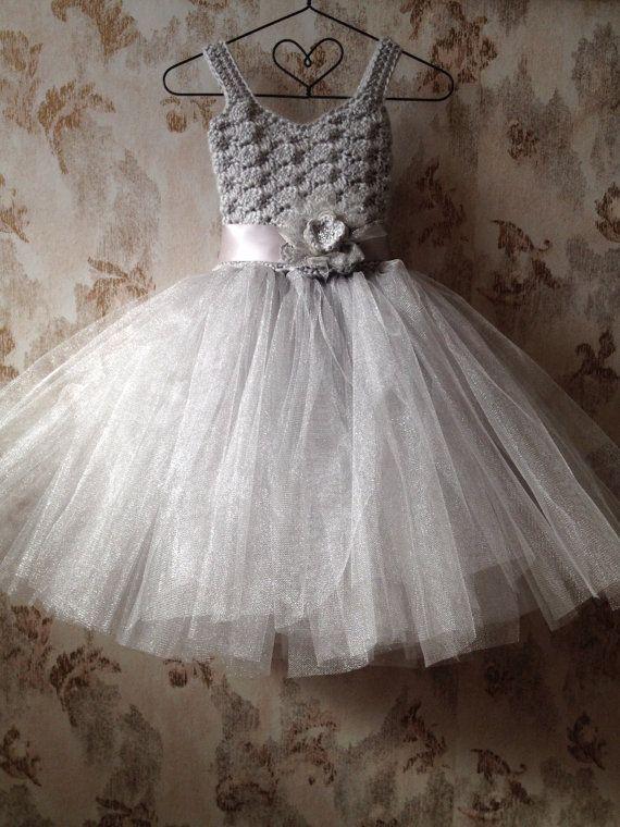 Grey Flower Girl Tutu Dress   Gray flower girl tutu dress, flower girl tutu dress, crochet tutu ...