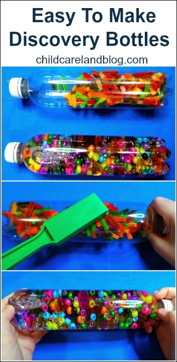 Easy To Make Discovery Bottles put number cubes in and chn write down numbers add/subtract