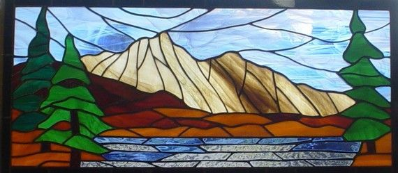 mountain Stained Glass Panels | Mountain Lake rustic stained glass window by NatureWalkGlass, $250.00
