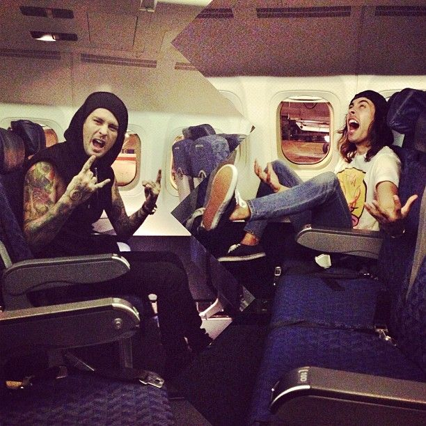 @ptvmike and I on the plane on our way to kick off the #SpringFeverTour tomorrow with All Time Low, Mayday Parade and YouMeAtSix! #LetsGooo ! Photo by piercethevic #PTV