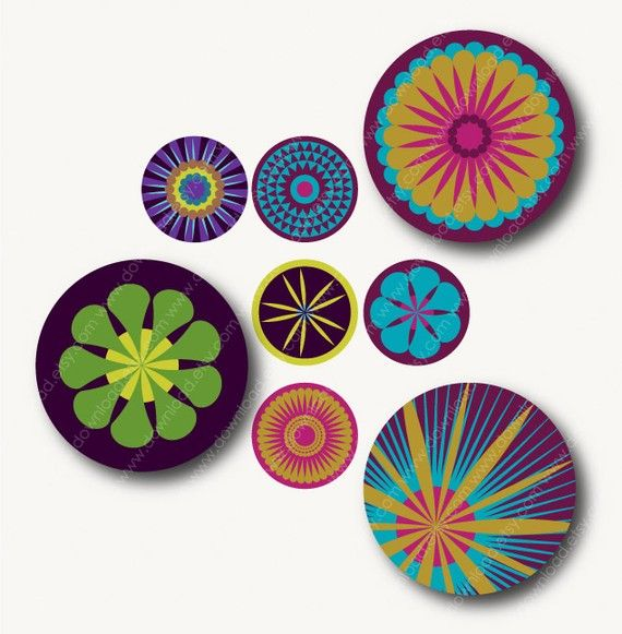 Blaze 1 inch Circles Digital Collage Sheet Download by download